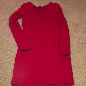 Long sleeved red bodycon party dress